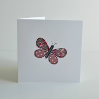 Embroidered pink butterfly greetings card