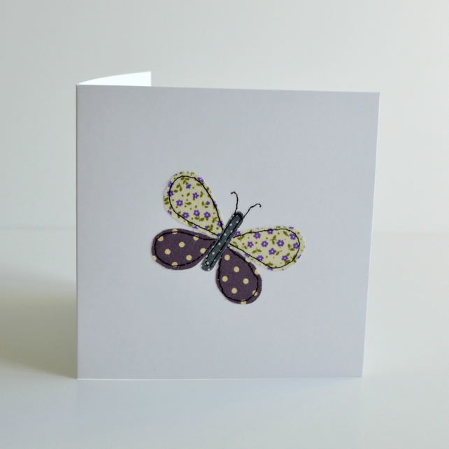 Applique purple butterfly greetings card with floral fabrics