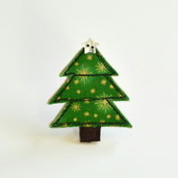 Christmas tree pin, Christmas tree brooch, Christmas tree badge