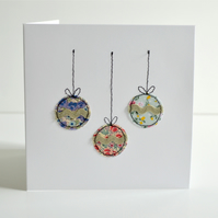 Christmas baubles greetings card, handmade embroidered Christmas card
