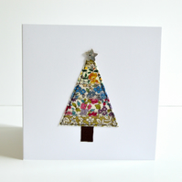 Christmas tree greetings card, handmade embroidered Christmas card