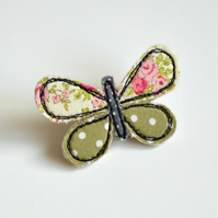 Butterfly brooch, butterfly pin, butterfly badge, embroidered butterfly