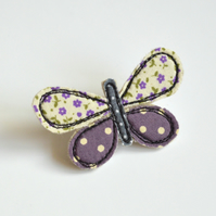 Butterfly badge, butterfly brooch, butterfly pinback, embroidered butterfly