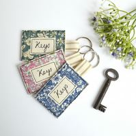 Embroidered key ring, personalised key ring, embroidered keyring
