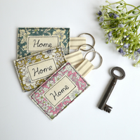 Embroidered house key ring, personalised key ring, home keyring