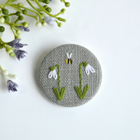 Snowdrop brooch, snowdrop pin badge, embroidered snowdrop brooch, snowdrop pin