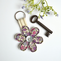 Flower key ring, Flower key fob, Flower keyring, New home gift, Fabric flower