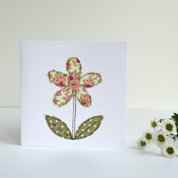 Sewn greetings card with pretty fabric flower, blank card, stitched card