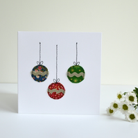 Hanging Christmas decorations Christmas card, embroidered card, Christmas card