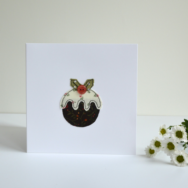 Embroidered Christmas Pudding Greetings Card H Folksy