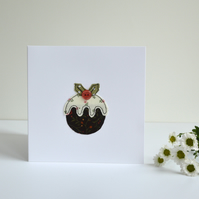 Embroidered Christmas pudding greetings card, handmade Christmas card