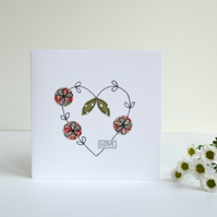 Handmade embroidered love heart greetings card. embroidered wedding card