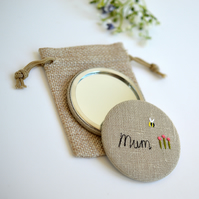 Mum handbag mirror, personalised pocket mirror, embroidered pocket mirror