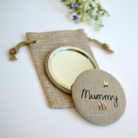 Mummy pocket mirror, Mummy handbag mirror, personalised pocket mirror