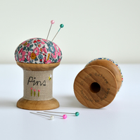 PINCUSHION wooden spool, cotton reel pincushion, bobbin pincushion