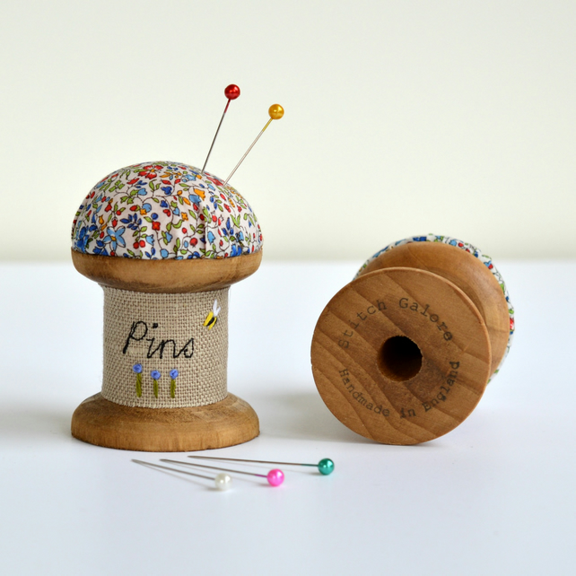 PINCUSHION wooden bobbin, cotton reel pincushion, embroidered pincushion
