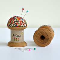 Embroidered pincushion, spool pincushion, cotton reel pincushion, pin holder