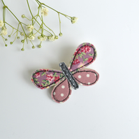 Butterfly pin, butterfly badge, butterfly brooch, embroidered butterfly