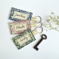 Personalised name keyring, personalised key ring, embroidered keyring