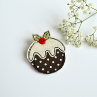 Handmade Christmas Pudding embroidered fabric brooch, badge