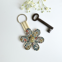 Flower key ring, Flower key fob, flower key chain, New home gift, flower keyring