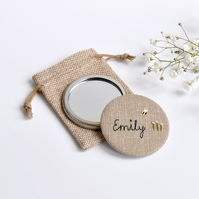 Personalised pocket mirror, personalised handbag mirror, embroidered mirror