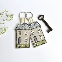 House key ring, Embroidered house keyring, house key chain, house key fob