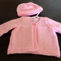 0-6mths Pink Coat and Hat