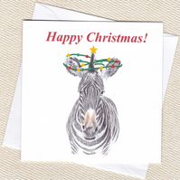 Zebra Christmas card, free postage for UK