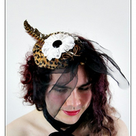 1950s .. Steampunk .. Pill Box Hat Fascinator with Lace Rosette Pheasant Feather
