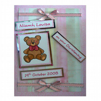 Teddy Bears and Pink Christening Card (CHR169)