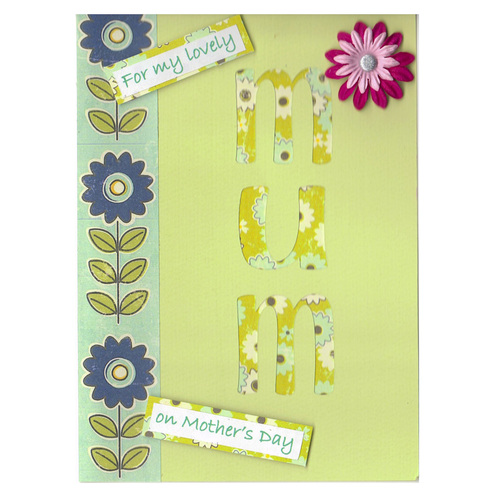 Green Floral Silhouette Mother's Day Card