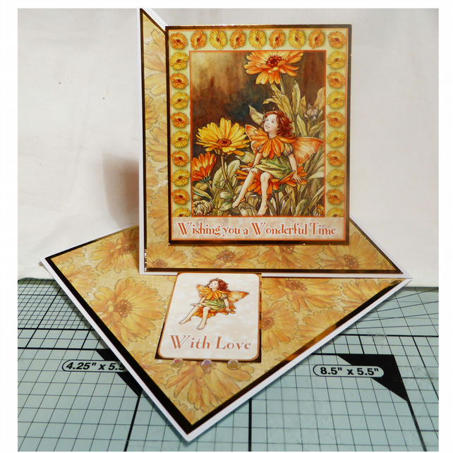 Marigold Flower Fairy Twisted Easel Card (GEN328)
