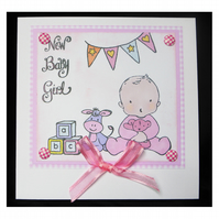 Baby Girl with Blocks and Bunting (NB358)