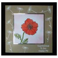 Poppy and Daisies Wedding Card (Con403)