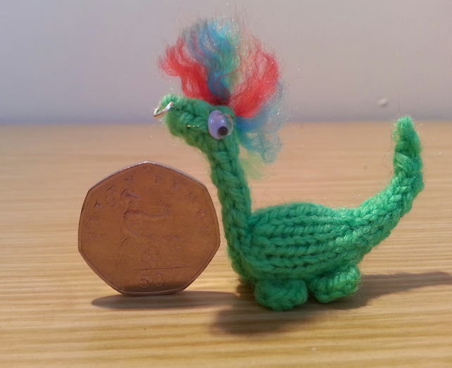 Mini Dinosaur Knitting Pattern : Sterling - Hand Knitted Miniature Dinosaur - Folksy