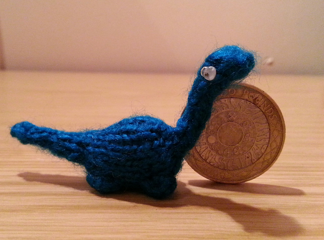 Mini Dinosaur Knitting Pattern : Hand Knitted Miniature Dinosaur - Blue - Folksy