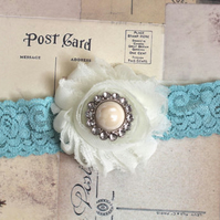 TAMSIN: Aqua Blue Wedding Garter. Dusty Aqua Lace Garter. Shabby Chic Garter.