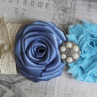TAMARA: Blue Wedding Garter. Sky Blue & Smoke Blue. Something Blue.