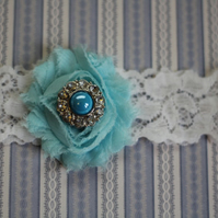 ELEANOR: Robin Egg Wedding Garter. White Lace Garter. Shabby Chic Flower Garter.