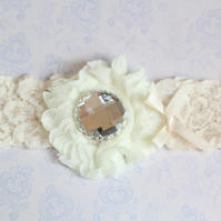 FIFI: Ivory Wedding Garter. White Lace. Shabby Chic Flower. Crystal Button.