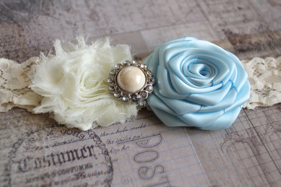 MELISSA: Light Blue Wedding Garter. Shabby Chic Garter.