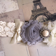 KATIE: Light Grey Wedding Garter. Shabby Chic Garter. Winter Wedding. Fairytale
