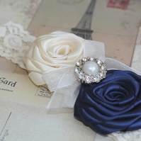 ANYA: Ivory & Navy Wedding Garter. Satin Rolled Flowers.