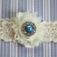 MILLIE: Blue Wedding Garter. Ivory Lace Garter. Shabby Chic Garter.