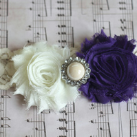 VALENTINA: Dark Purple Wedding Garter. Ivory Lace Garter. Shabby Chic Garter.