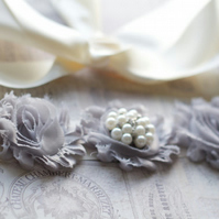 ELISHA: Ivory and Grey Wedding Sash. Bridesmaid Sash. Flower Girl Sash.
