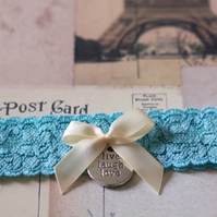 MOLLY: Blue Wedding Garter. Dusty Aqua Lace. Live Laugh Love. Something Blue.