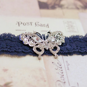 EVIE: Butterfly Navy Wedding Garter. Something Blue.