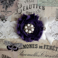 EUGENIE: Dark Purple Wedding Garter.